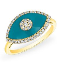 Anne Sisteron - 14kt Yellow Gold Diamond Turquoise Evil Eye Summer Ring - Lyst