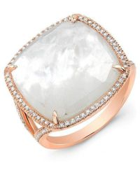 Anne Sisteron - 14kt Rose Gold Mother Of Pearl Diamond Doublet Ring - Lyst