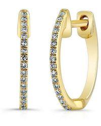 Anne Sisteron - 14kt Yellow Gold Diamond Huggie Earrings - Lyst