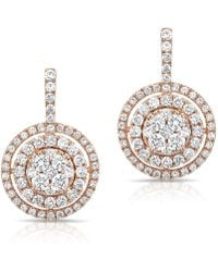 Anne Sisteron | 14kt Rose Gold Pave Diamond Double Halo Wireback Earrings | Lyst