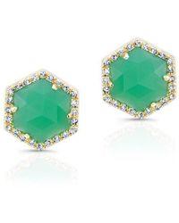 Anne Sisteron - 14kt Yellow Gold Chrysoprase Diamond Hexagon Stud Earrings - Lyst