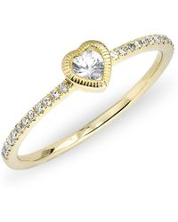 Anne Sisteron - 14kt Yellow Gold White Sapphire Heart Solitaire Diamond Ring - Lyst
