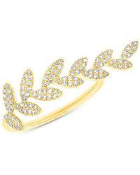 Anne Sisteron - 14kt Yellow Gold Diamond Leaf Everleigh Ring - Lyst