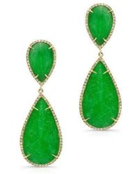 Anne Sisteron - 14kt Yellow Gold Jade Diamond Earrings - Lyst