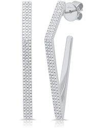 Anne Sisteron - 14kt White Gold Diamond Edgy Wishbone Earrings - Lyst