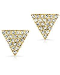 Anne Sisteron | 14kt Yellow Gold Diamond Medium Triangle Emma Stud Earrings | Lyst
