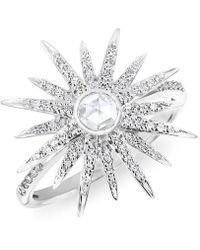 Anne Sisteron - 14kt White Gold Diamond Sunburst Ring - Lyst