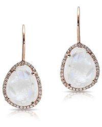 Anne Sisteron - 14kt Rose Gold Moonstone Diamond Organic Shape Earrings - Lyst