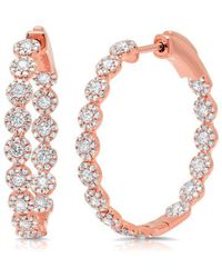 "Anne Sisteron - 14kt Rose Gold Diamond Ellie 1.15"" Hoops - Lyst"