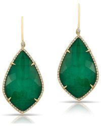 Anne Sisteron - 14kt Yellow Gold Emerald Diamond Large Leaf Earrings - Lyst