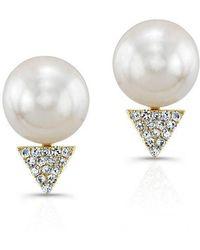 Anne Sisteron - 14kt Yellow Gold Pearl Diamond Triangle Stud Earrings - Lyst