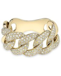 Anne Sisteron - Yellow Gold Luxe Light Diamond Chain Link Ring - Lyst