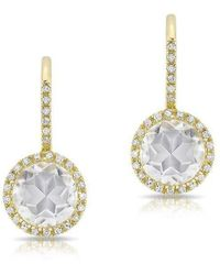 Anne Sisteron | 14kt Yellow Gold Diamond White Topaz Round Wireback Earrings | Lyst