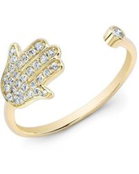 Anne Sisteron - 14kt Yellow Gold Diamond Hamsa Ring - Lyst