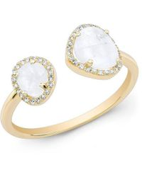 Anne Sisteron - 14kt Yellow Gold Moonstone Diamond Doublet Ring - Lyst