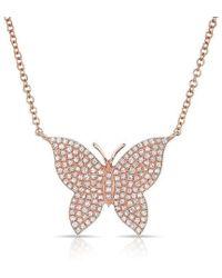 Anne Sisteron - 14kt Rose Gold Pave Diamond Butterfly Necklace - Lyst