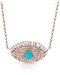 Anne Sisteron | 14kt Rose Gold Baguette Diamond And Turquoise Gypsy Necklace | Lyst