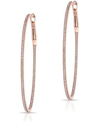 Anne Sisteron - 14kt Rose Gold Diamond Oval Large Hoop Earrings - Lyst