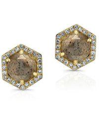 Anne Sisteron - 14kt Yellow Gold Diamond Labradorite Hexagon Shape Stud Earrings - Lyst