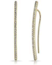 Anne Sisteron - 14kt Yellow Gold Diamond Mini Wishbone Earrings - Lyst