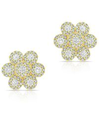 Anne Sisteron - 14kt Yellow Gold Diamond Abigail Flower Earrings - Lyst