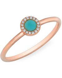 Anne Sisteron - 14kt Rose Gold Diamond Turquoise Round Disc Ring - Lyst