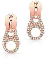 Anne Sisteron - 14kt Rose Gold Diamond Zipper Earrings - Lyst