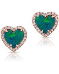 Anne Sisteron - 14kt Yellow Gold Opal Diamond Heart Stud Earrings - Lyst