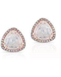Anne Sisteron - 14kt Rose Gold Diamond Moonstone Stud Earrings - Lyst