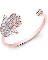 Anne Sisteron - 14kt Rose Gold Diamond Hamsa Ring - Lyst