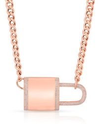 Anne Sisteron - 14kt Rose Gold Diamond Luxe Lovelock Necklace - Lyst