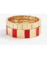 Ann Taylor - Pave Enamel Stretch Bracelet Set - Lyst