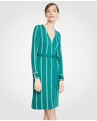 Ann Taylor - Petite Striped Button Cuff Wrap Dress - Lyst