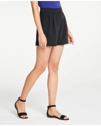 Ann Taylor - Lace Trim Pleated Shorts - Lyst