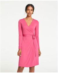 7402e9f2d954 Ann Taylor - Petite Matte Jersey Wrap Dress - Lyst
