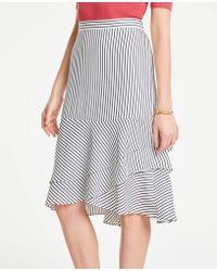 3d038d940 Ann Taylor - Petite Stripe Tiered Flounce Skirt - Lyst