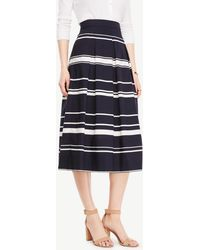 Ann Taylor | Petite Stripe Pleated Midi Skirt | Lyst