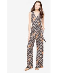 Ann Taylor   Tropical Sleeveless Belted Jumpsuit   Lyst