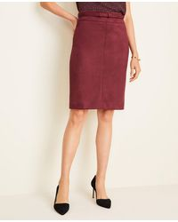 Ann Taylor - Faux Suede Belted Pencil Skirt - Lyst