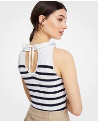 Ann Taylor - Striped Ruffle Tie-back Sweater Shell - Lyst