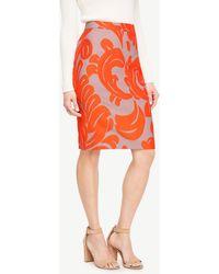 Ann Taylor - Curvy Fan Leaf Pencil Skirt - Lyst