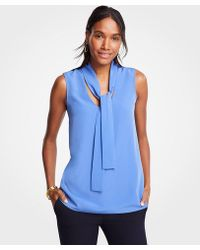 Ann Taylor - Tie Neck Shell - Lyst