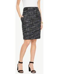 Ann Taylor - Petite Tweed Button Tab Skirt - Lyst
