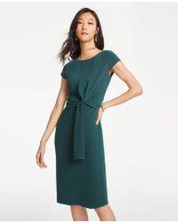 f437e69d3910 Ann Taylor - Petite Foldover Tie Waist Sheath Dress - Lyst