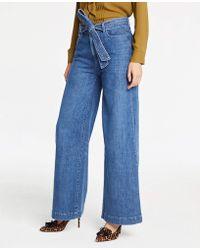 Ann Taylor - Tie Waist Wide Leg Jeans - Lyst