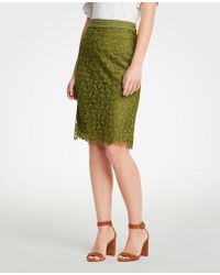 Ann Taylor - Floral Lace Pencil Skirt - Lyst