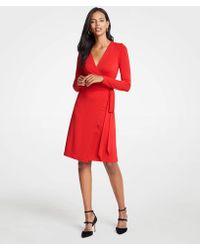 Ann Taylor - Stripe Wrap Dress - Lyst