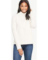 Ann taylor Cashmere Turtleneck Tunic Sweater in Purple   Lyst