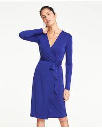 325e22e9e85 Ann Taylor - Tall Matte Jersey Wrap Dress - Lyst