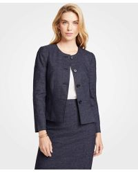 Ann Taylor - Petite Mini Check Pleated Peplum Jacket - Lyst